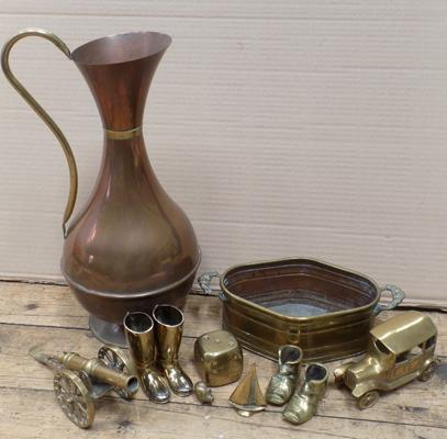 Selection of brass and copper items