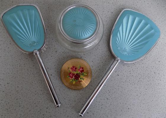 Vintage dressing table set with compact