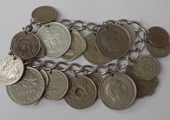 Heavy silver heart padlock bracelet with coins attached, 88g