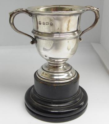 Sterling silver trophy cup on stand,Birmingham 1925,William Neal & Son, height 6.8cm & width 8.7cm, weight - 58.8 grams