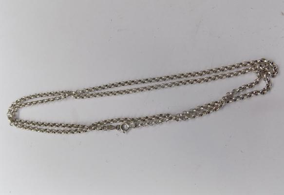 Long silver belcher chain approx 30 inches