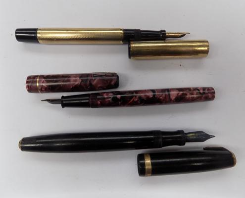 3x Fountain pens incl. Parker, all 14k nibs