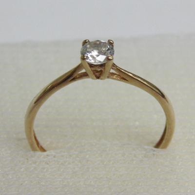 9ct gold white stone solitaire ring, size L 1/2