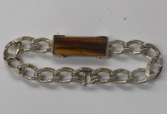 Heavy vintage silver curb bracelet with tiger eye panel, fully hallmarked