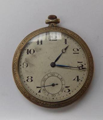 Rolled gold gents pocket watch - circa 1930's - W/O