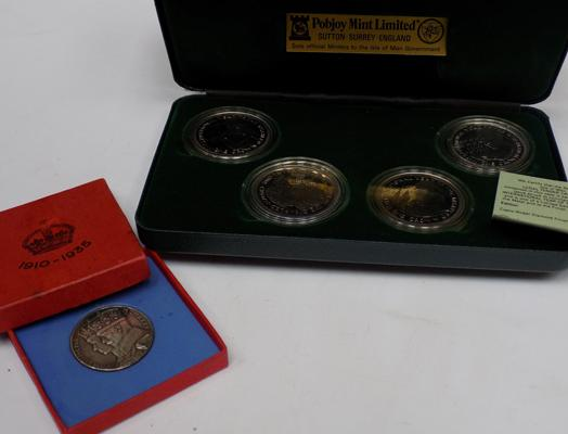 Silver 1910-35 commemorative coin & Pobjoy Mint 'International Year of the Disabled' coin set