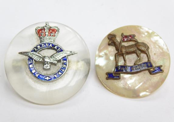 2 x WW1/WW2 sweetheart brooches, Flying Core (lucite), The Queens (mother of pearl)