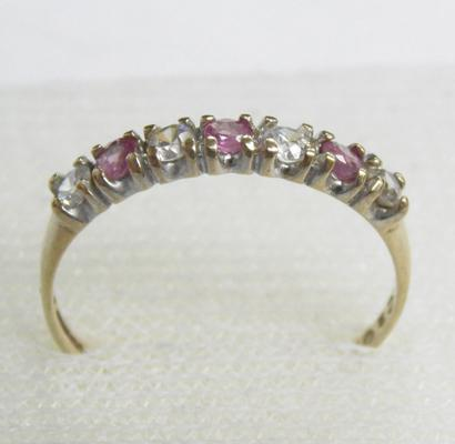 9ct gold ruby half eternity ring, size P 1/2