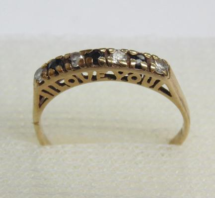 9ct gold sapphire 'I Love You' half eternity ring, size L 1/2