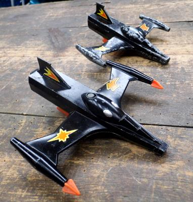 2x Vintage Dinky Trident star fighter diecasts