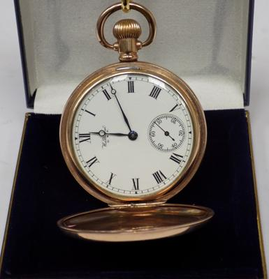 9ct gold plated, full Hunter cased - Waltham pocket watch - W/O