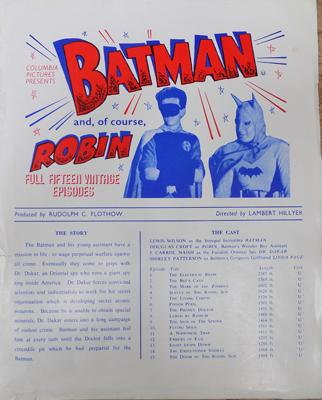 Original promo sheet 1940's Batman cinema serial