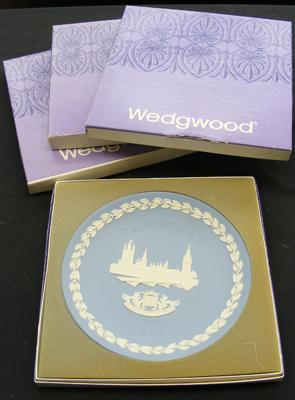 Four Wedgwood Christmas plates - boxed