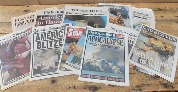 Selection of all British national newspapers dated September 12th 2001 - re : 9.11