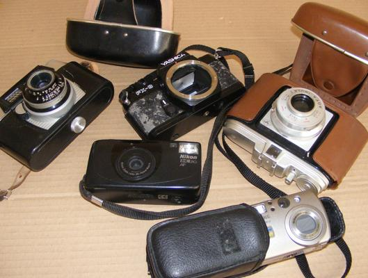 Collection of film cameras, incl. Nikon