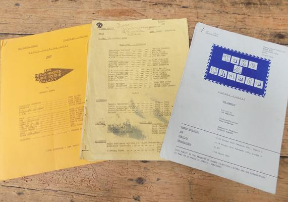 Original camera scripts 'Hitch Hikers Guide to the Galaxy', 'Play Away' and 'Take a Chance'