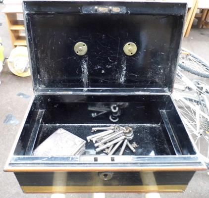 Victorian cash box, Japanese copper box and set of  keys