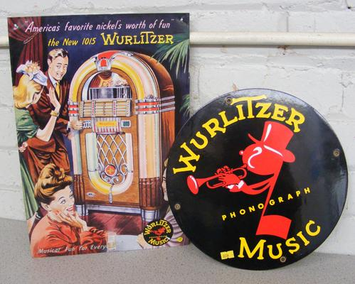 2x Wurlitzer tin plate signs