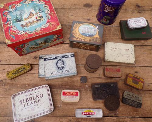 Vintage Huntley & Palmer Xmas tin + collection of tins