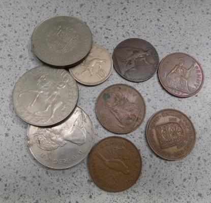 Selection of commemorative coins/old penny/old 10p