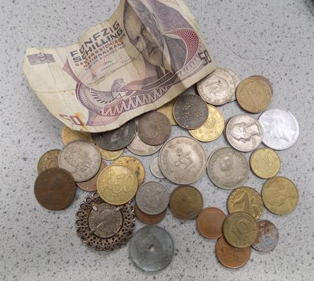 Selection of foreign coins & 50 shilling note