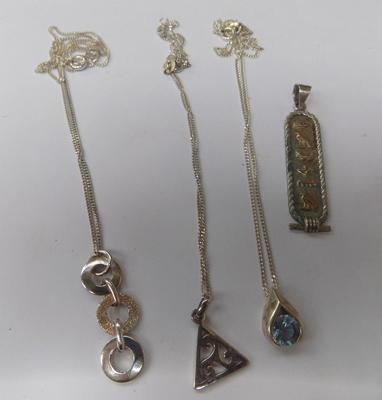 3 sterling silver necklaces & pendants with Egyptian gold & silver pendant
