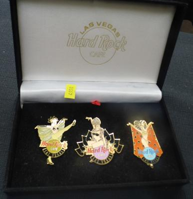 Limited edition of 2000 - set of 3 Can-Can dancer in enamelled hard rock pin badges in original box