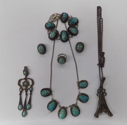 Egyptian silver necklace, bracelet, earrings + ring set, plus two others