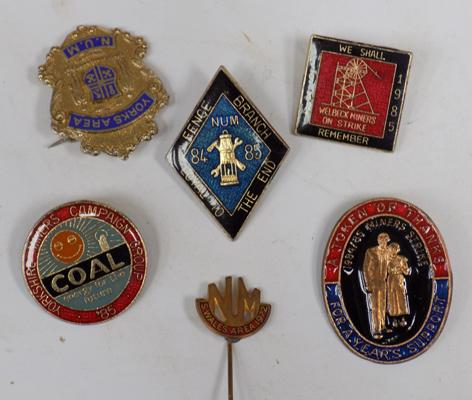 Six vintage enameled miner's strike & union badges