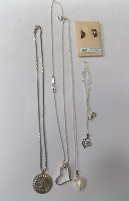 Selection of necklaces inc silver & silver earrings