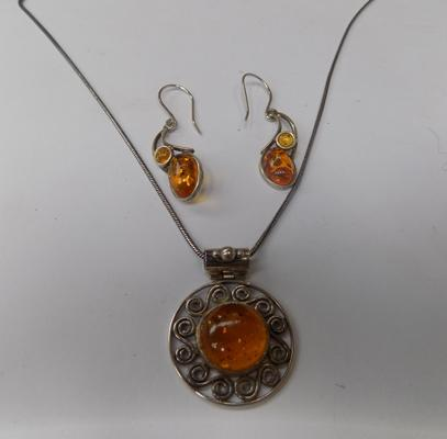 Sterling silver amber necklace pendant & earrings