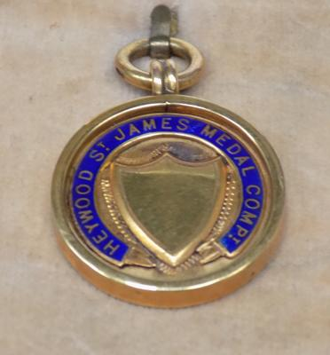 Vintage 9ct gold fob watch chain medal, 1939 athletics award, full hallmark