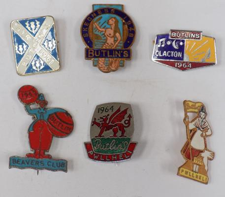 Six vintage enameled Butlin's badges