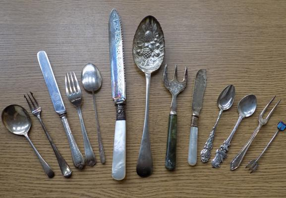 Selection of mixed cutlery, incl. silver