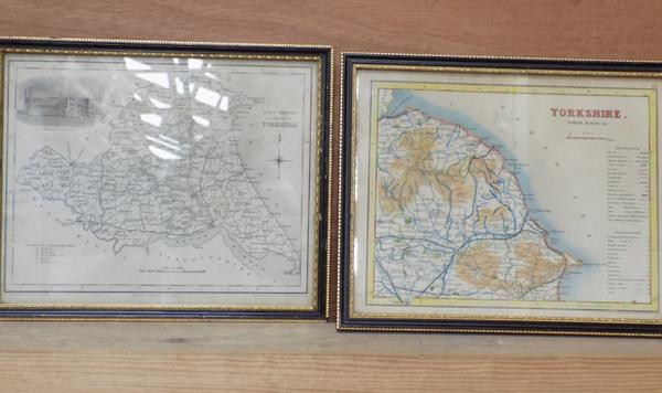 2x Framed vintage maps of Yorkshire, approx. 10.5 x 8.5 inches