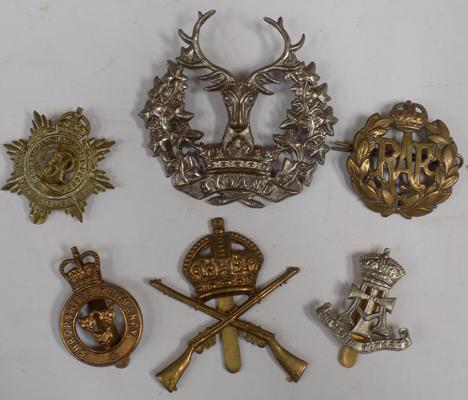 Six British military cap badges - WWI onwards