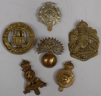 Six British military cap badges, WWI onwards