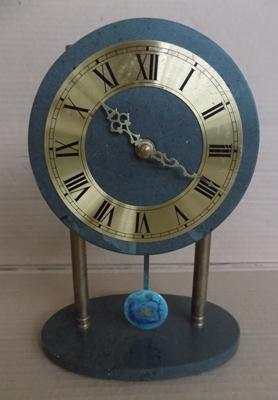 Slate clock with pendulum, battery operated, no damage