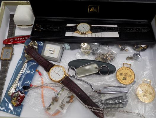 Tray of collectables, incl. watches & jewellery
