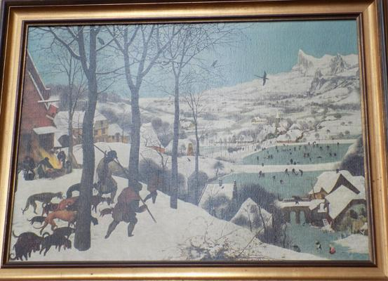 'Hunters in the Sun' lithograph on canvas by Breughel, approx. 34 x 26 inches