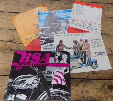 Vintage 60's BSA & Triumph motorcycles catalogues + Triumph automatic T10 original dealer poster & price guide