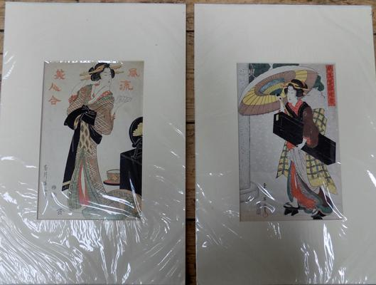 2x Japanese prints, 9 x 13 inches