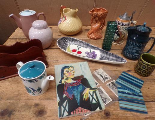Box of collectables, incl. Sylvac, Poole, Shorter etc...