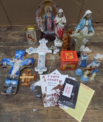 Box religious ornaments/candle/crosses