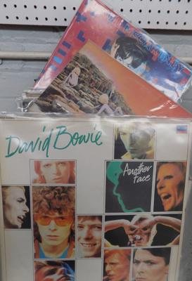 Box of LPs, incl. Beatles, Bowie, Led Zepplin, Faces, Dylan