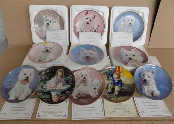 Collection of Westie dog plates by Danbury Mint