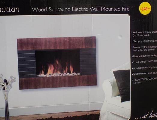 Wall mounted flame effect fire in W/O - no remote