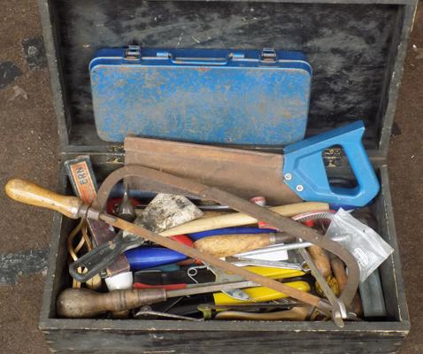 Selection of tools with wooden case