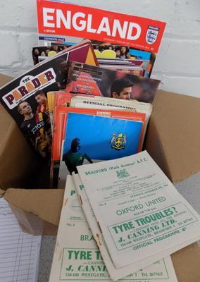 Box of approx. 100 football programmes incl. BPA, City, Leeds and finals