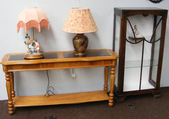 Light oak hall table , china cabinet & decorative lamps etc...
